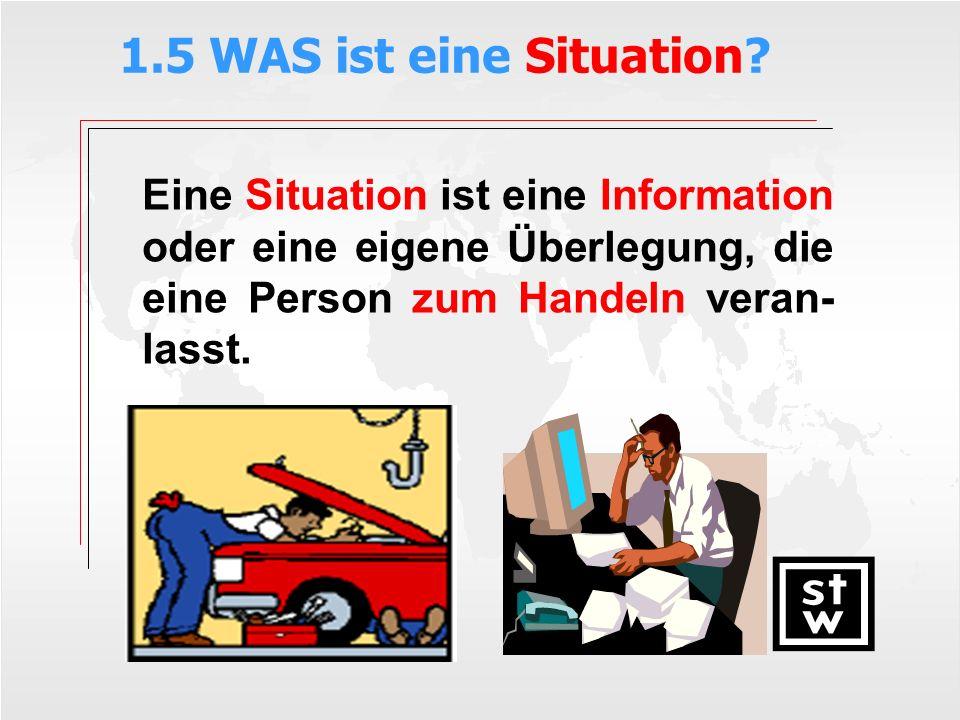 1.5 WAS ist eine Situation? Eine Situation ist eine Information oder eine eigene Überlegung, die eine Person zum Handeln veran- lasst.