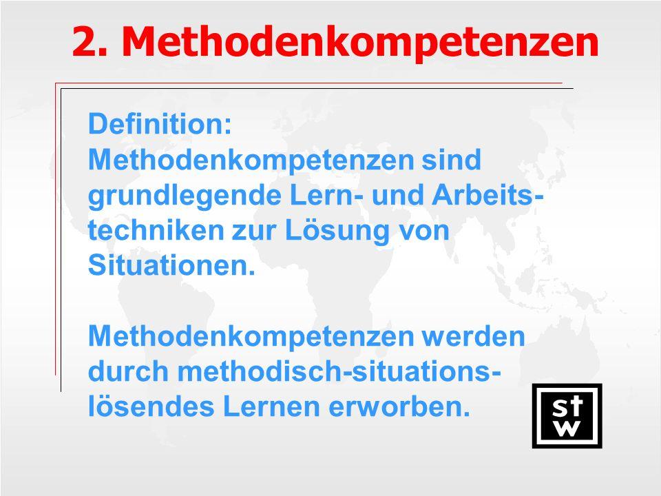 2. Methodenkompetenzen Definition: Methodenkompetenzen sind grundlegende Lern- und Arbeits- techniken zur Lösung von Situationen. Methodenkompetenzen