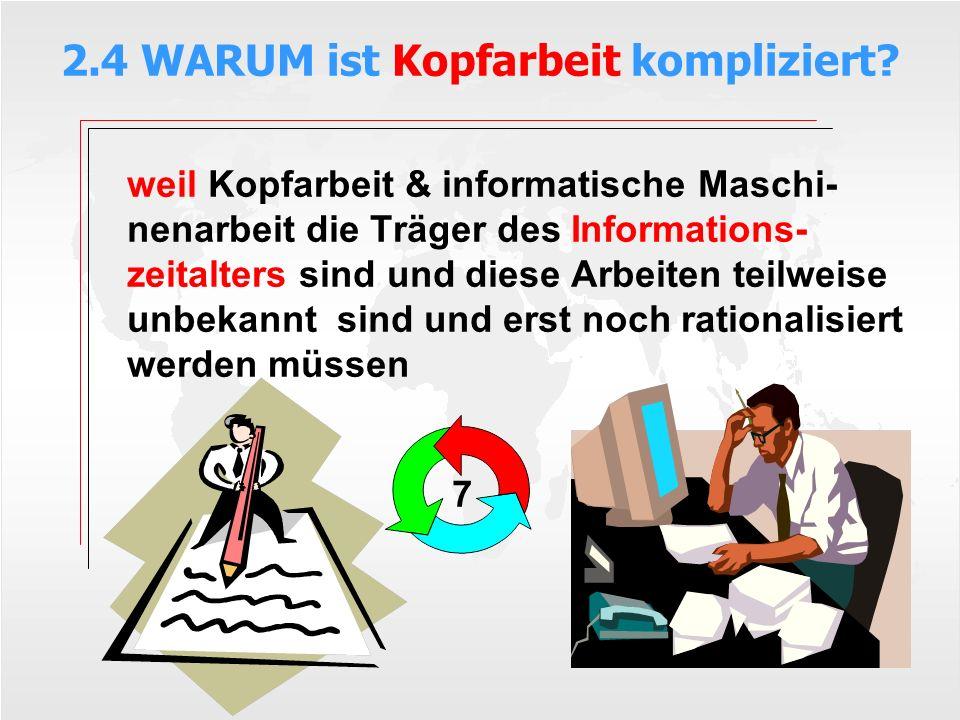 2.4 WARUM ist Kopfarbeit kompliziert? weil Kopfarbeit & informatische Maschi- nenarbeit die Träger des Informations- zeitalters sind und diese Arbeite