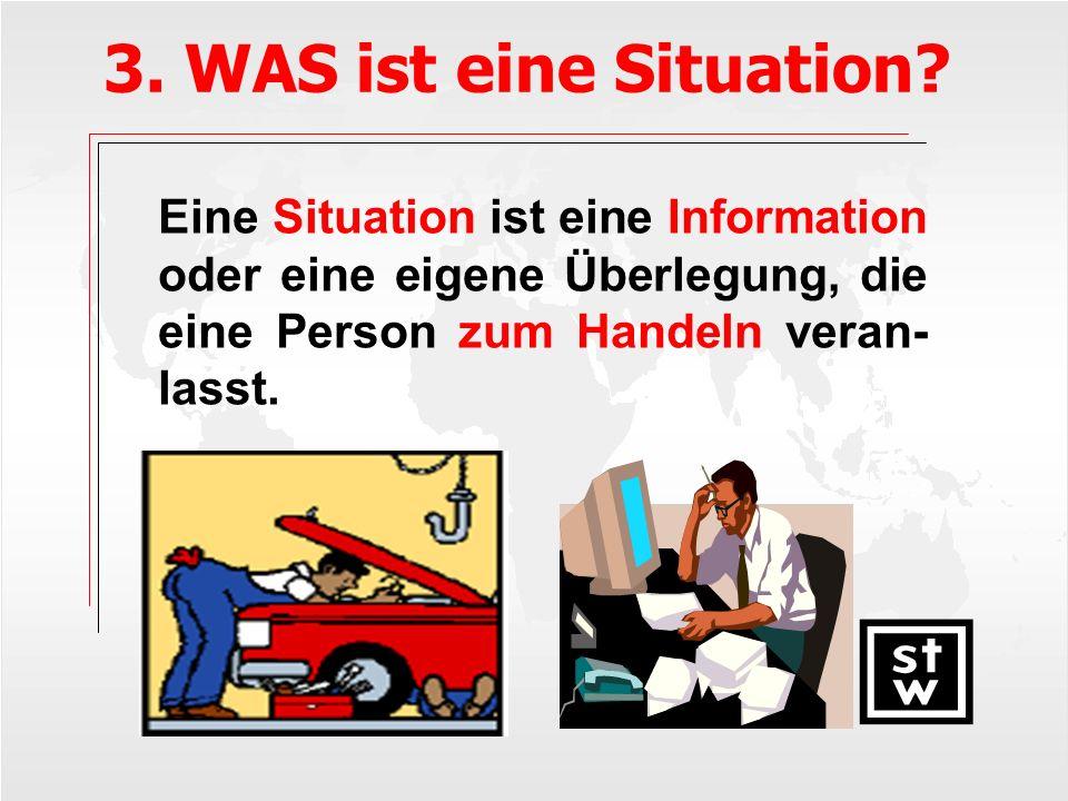 3. WAS ist eine Situation? Eine Situation ist eine Information oder eine eigene Überlegung, die eine Person zum Handeln veran- lasst.