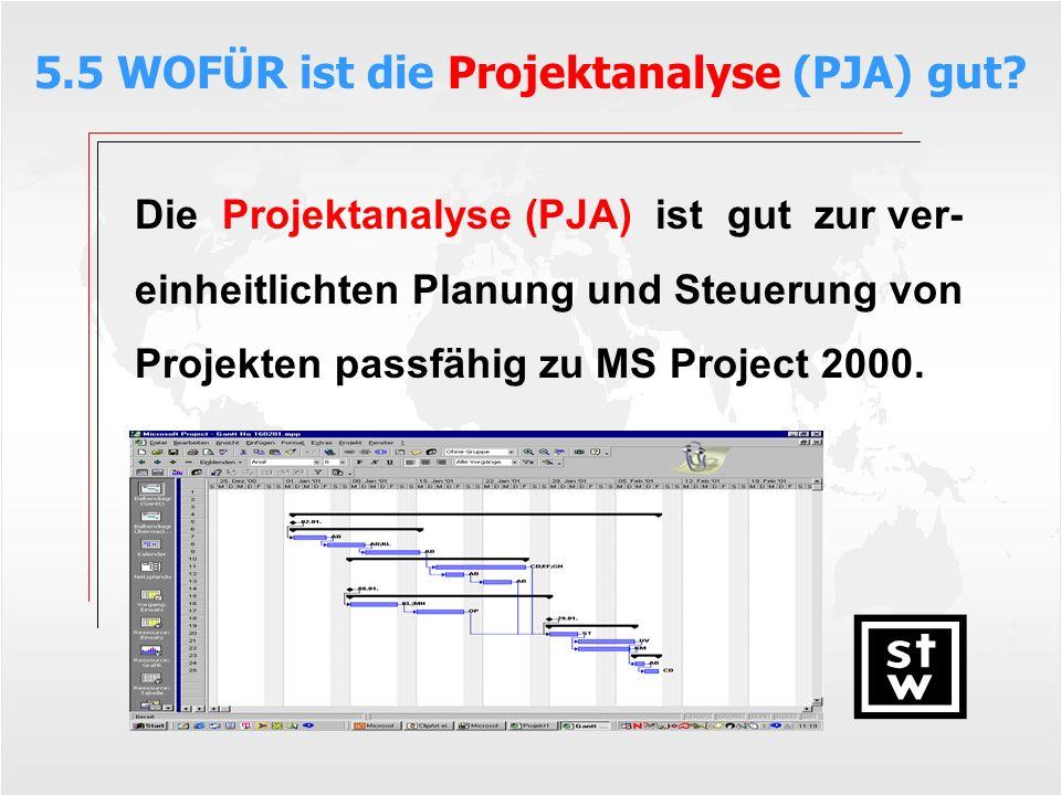Die Projektanalyse (PJA) ist gut zur ver- einheitlichten Planung und Steuerung von Projekten passfähig zu MS Project 2000. 5.5 WOFÜR ist die Projektan