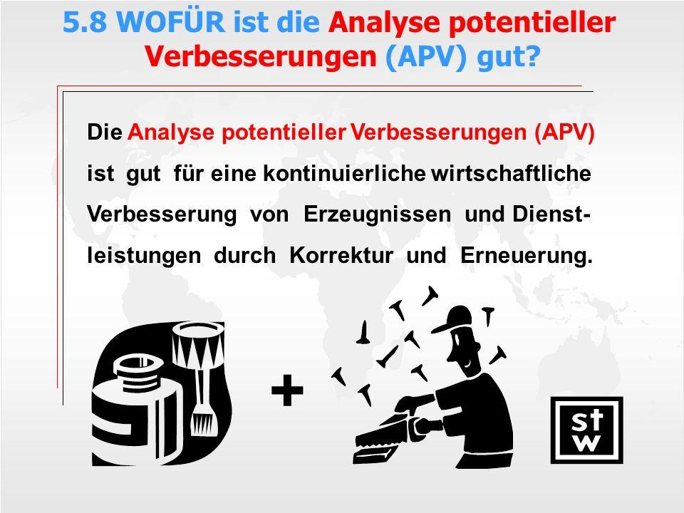 Die Analyse potentieller Verbesserungen (APV) ist gut für eine kontinuierliche wirtschaftliche Verbesserung von Erzeugnissen und Dienst- leistungen du