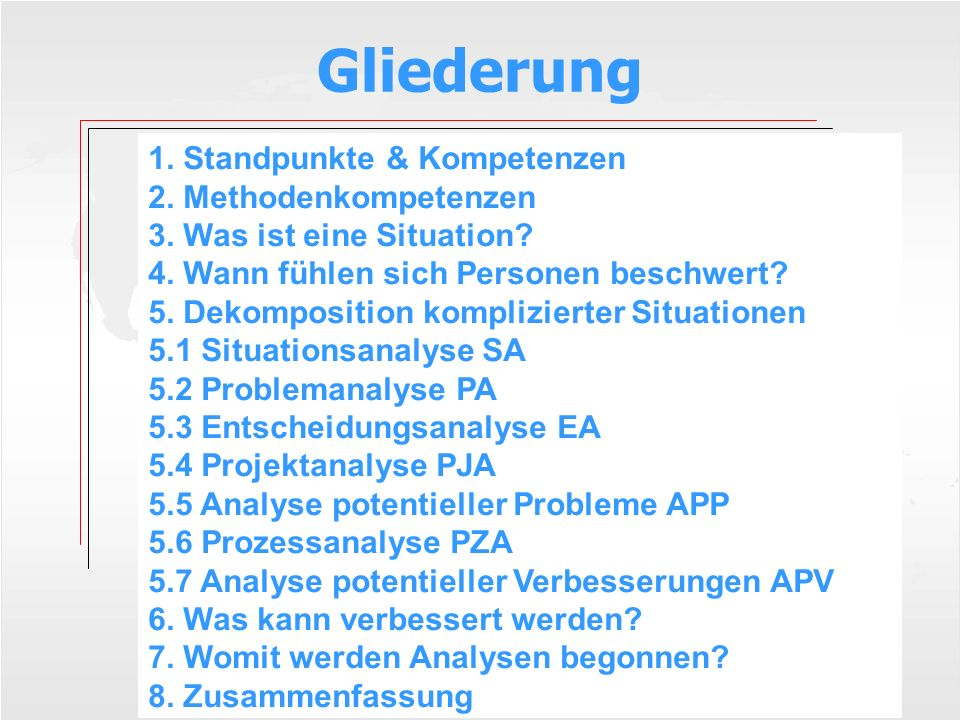 Gliederung 1. Standpunkte & Kompetenzen 2. Methodenkompetenzen 3. Was ist eine Situation? 4. Wann fühlen sich Personen beschwert? 5. Dekomposition kom