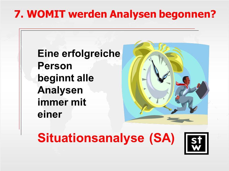Eine erfolgreiche Person beginnt alle Analysen immer mit einer Situationsanalyse (SA) 7. WOMIT werden Analysen begonnen?