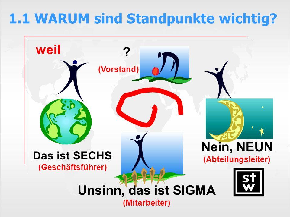 1.1 WARUM sind Standpunkte wichtig? ? (Vorstand) Das ist SECHS (Geschäftsführer) Nein, NEUN (Abteilungsleiter) Unsinn, das ist SIGMA (Mitarbeiter) wei
