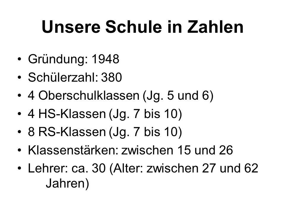 Unsere Schule in Zahlen Gründung: 1948 Schülerzahl: 380 4 Oberschulklassen (Jg. 5 und 6) 4 HS-Klassen (Jg. 7 bis 10) 8 RS-Klassen (Jg. 7 bis 10) Klass