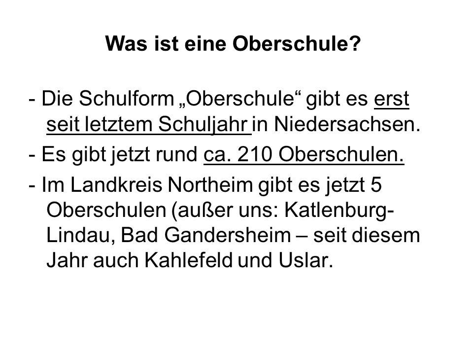 Was ist eine Oberschule? - Die Schulform Oberschule gibt es erst seit letztem Schuljahr in Niedersachsen. - Es gibt jetzt rund ca. 210 Oberschulen. -