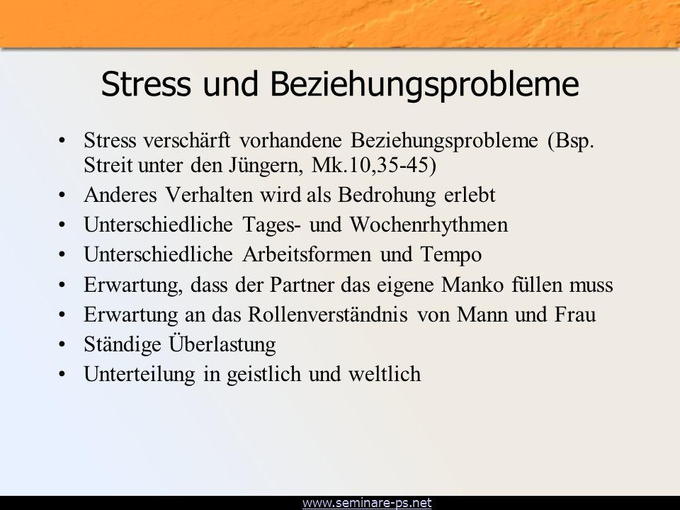 www.seminare-ps.net Stress und Beziehungsprobleme Stress verschärft vorhandene Beziehungsprobleme (Bsp. Streit unter den Jüngern, Mk.10,35-45) Anderes