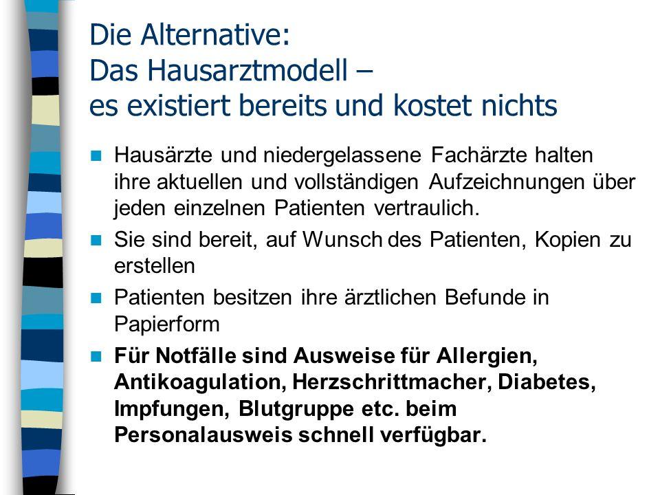 Die Alternative: Das Hausarztmodell – es existiert bereits und kostet nichts Hausärzte und niedergelassene Fachärzte halten ihre aktuellen und vollstä