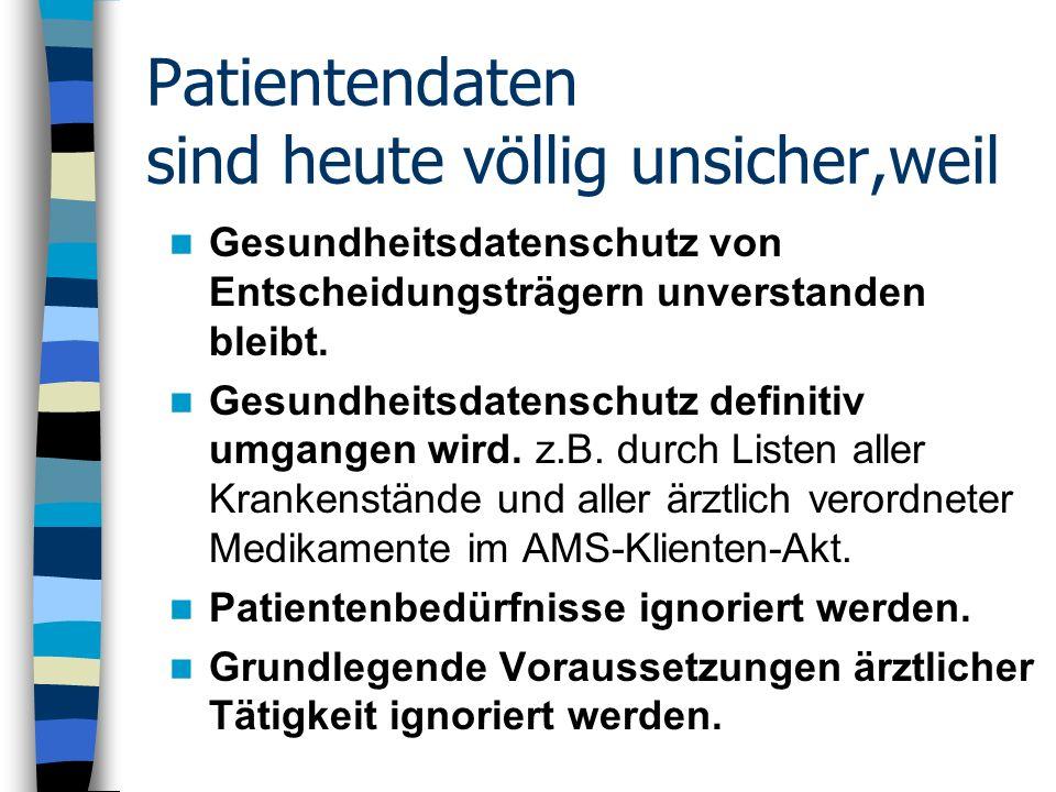 Patientendaten sind heute völlig unsicher,weil Gesundheitsdatenschutz von Entscheidungsträgern unverstanden bleibt. Gesundheitsdatenschutz definitiv u