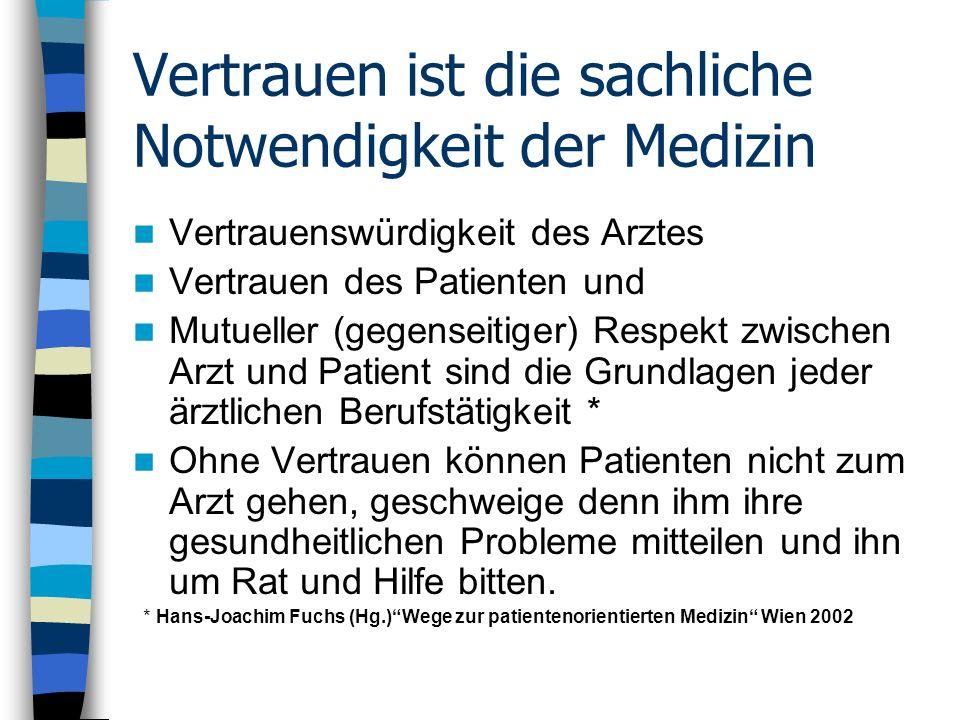 Vertrauen ist die sachliche Notwendigkeit der Medizin Vertrauenswürdigkeit des Arztes Vertrauen des Patienten und Mutueller (gegenseitiger) Respekt zw