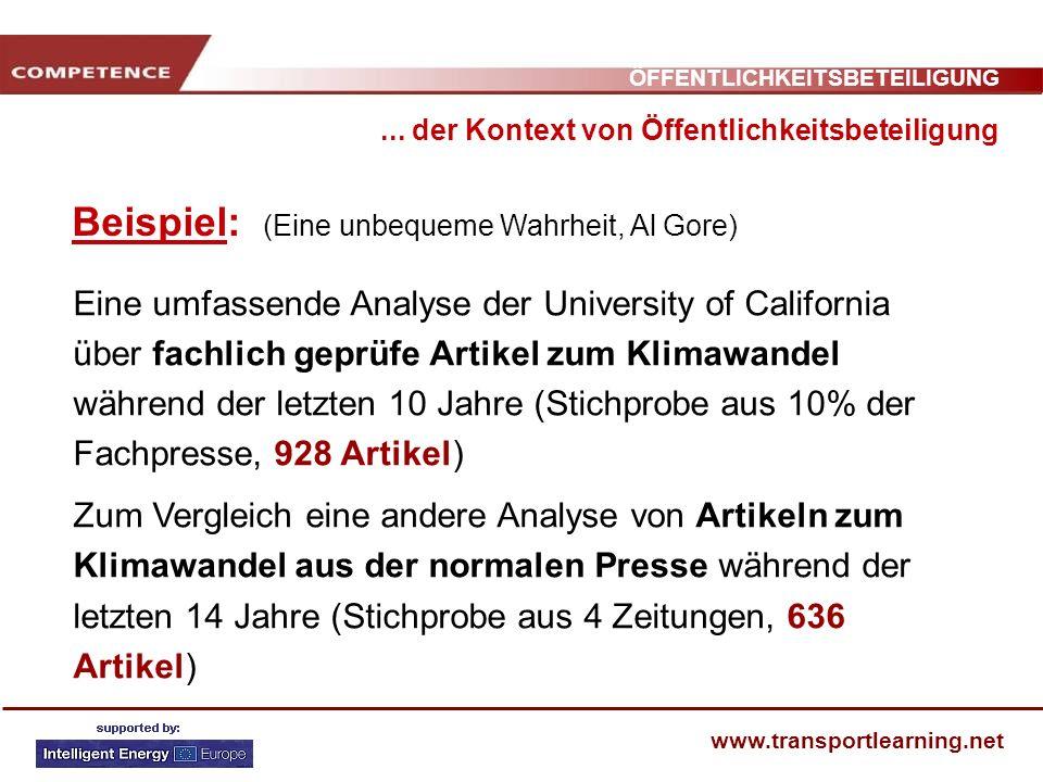 ÖFFENTLICHKEITSBETEILIGUNG www.transportlearning.net Beispiel: (Eine unbequeme Wahrheit, Al Gore)... der Kontext von Öffentlichkeitsbeteiligung Eine u