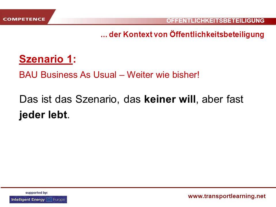 ÖFFENTLICHKEITSBETEILIGUNG www.transportlearning.net Szenario 1: BAU Business As Usual – Weiter wie bisher!... der Kontext von Öffentlichkeitsbeteilig