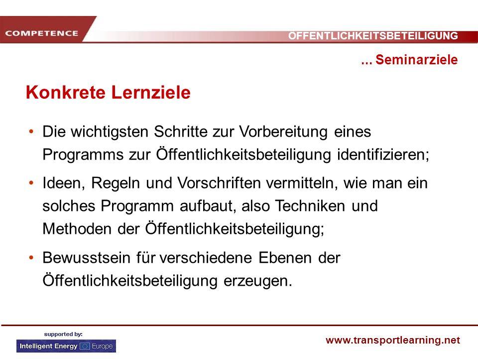 ÖFFENTLICHKEITSBETEILIGUNG www.transportlearning.net Konkrete Lernziele... Seminarziele Die wichtigsten Schritte zur Vorbereitung eines Programms zur