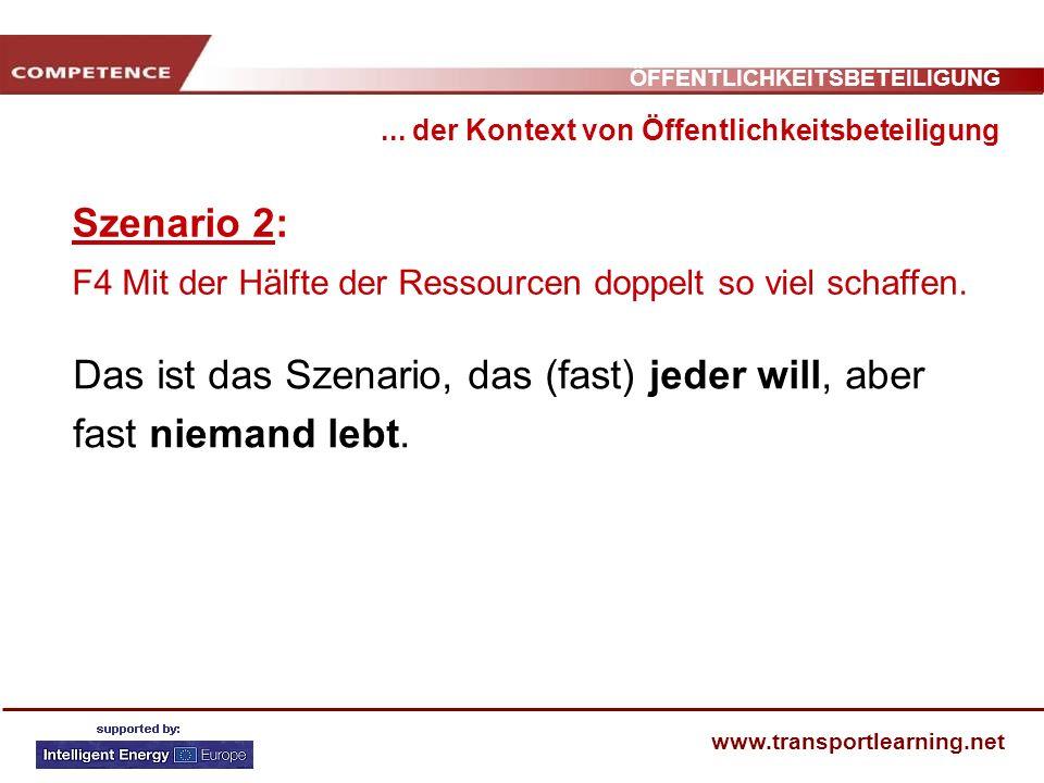 ÖFFENTLICHKEITSBETEILIGUNG www.transportlearning.net Szenario 2: F4 Mit der Hälfte der Ressourcen doppelt so viel schaffen.... der Kontext von Öffentl