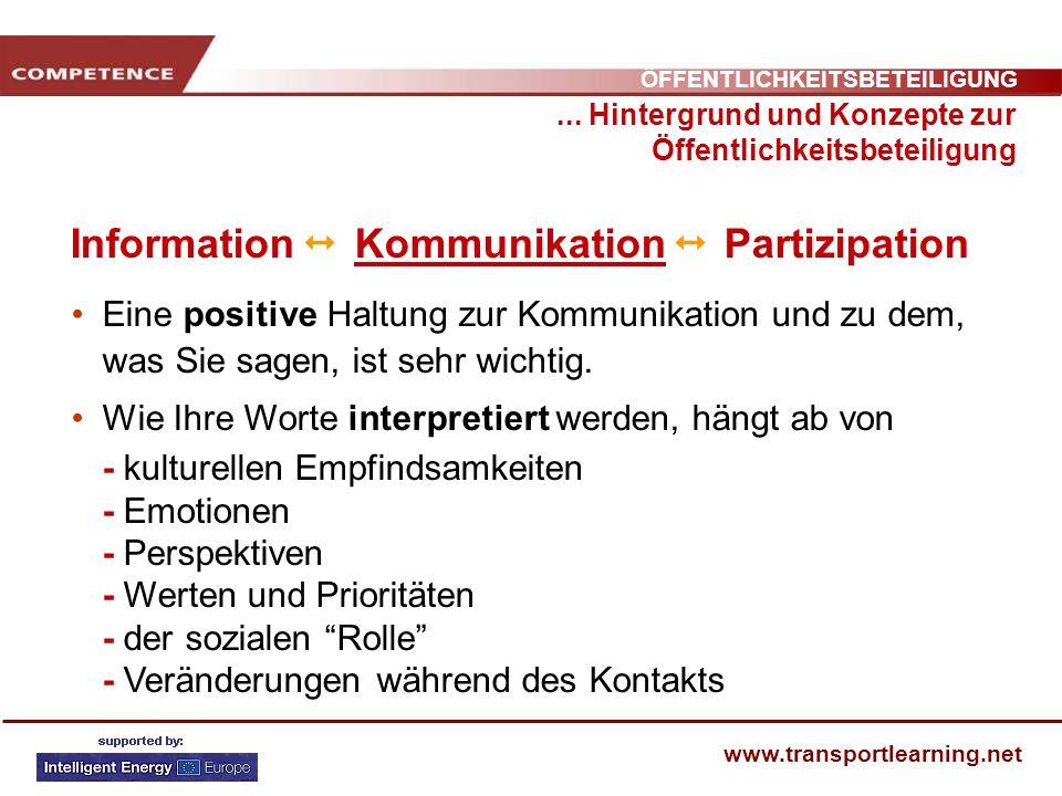 ÖFFENTLICHKEITSBETEILIGUNG www.transportlearning.net Information Kommunikation Partizipation... Hintergrund und Konzepte zur Öffentlichkeitsbeteiligun