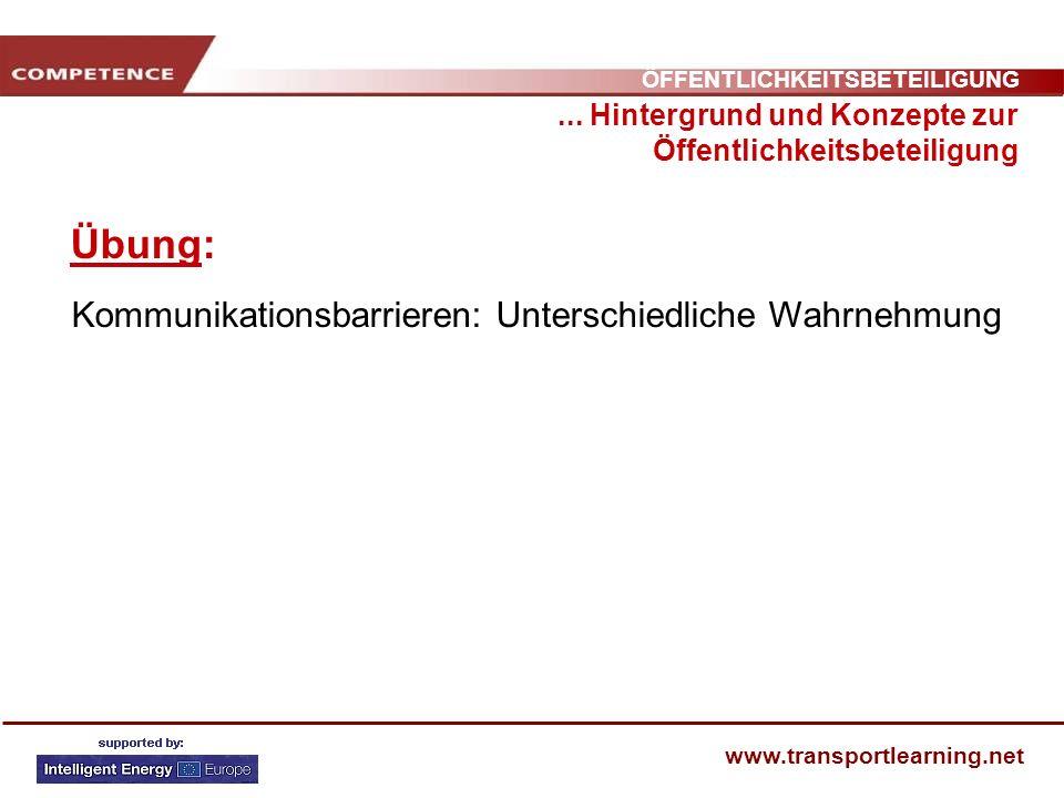 ÖFFENTLICHKEITSBETEILIGUNG www.transportlearning.net Übung:... Hintergrund und Konzepte zur Öffentlichkeitsbeteiligung Kommunikationsbarrieren: Unters