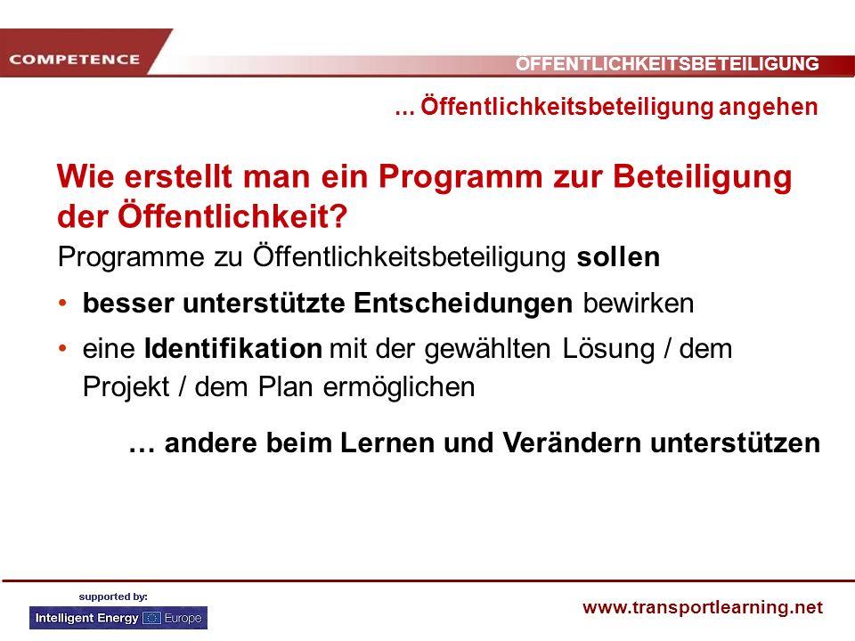 ÖFFENTLICHKEITSBETEILIGUNG www.transportlearning.net Wie erstellt man ein Programm zur Beteiligung der Öffentlichkeit?... Öffentlichkeitsbeteiligung a