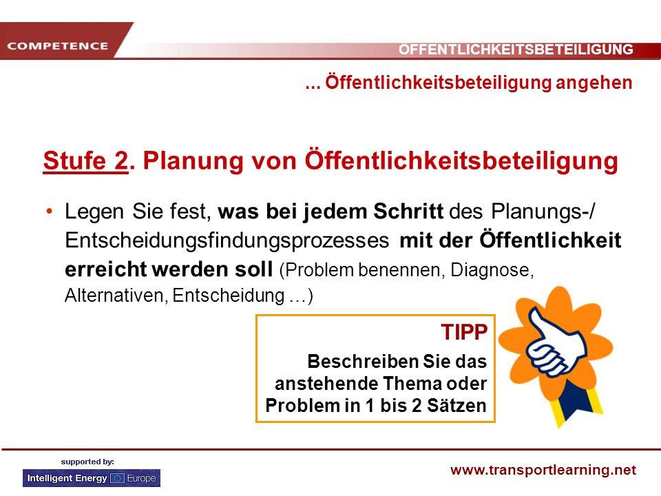 ÖFFENTLICHKEITSBETEILIGUNG www.transportlearning.net... Öffentlichkeitsbeteiligung angehen Stufe 2. Planung von Öffentlichkeitsbeteiligung Legen Sie f
