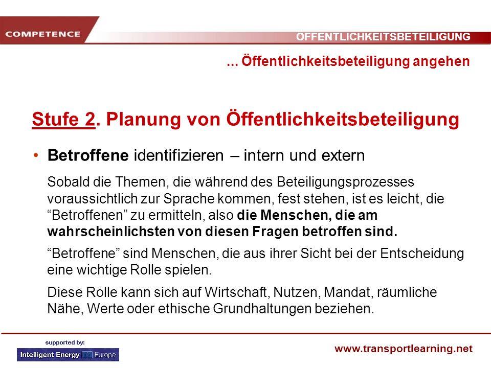 ÖFFENTLICHKEITSBETEILIGUNG www.transportlearning.net... Öffentlichkeitsbeteiligung angehen Stufe 2. Planung von Öffentlichkeitsbeteiligung Betroffene