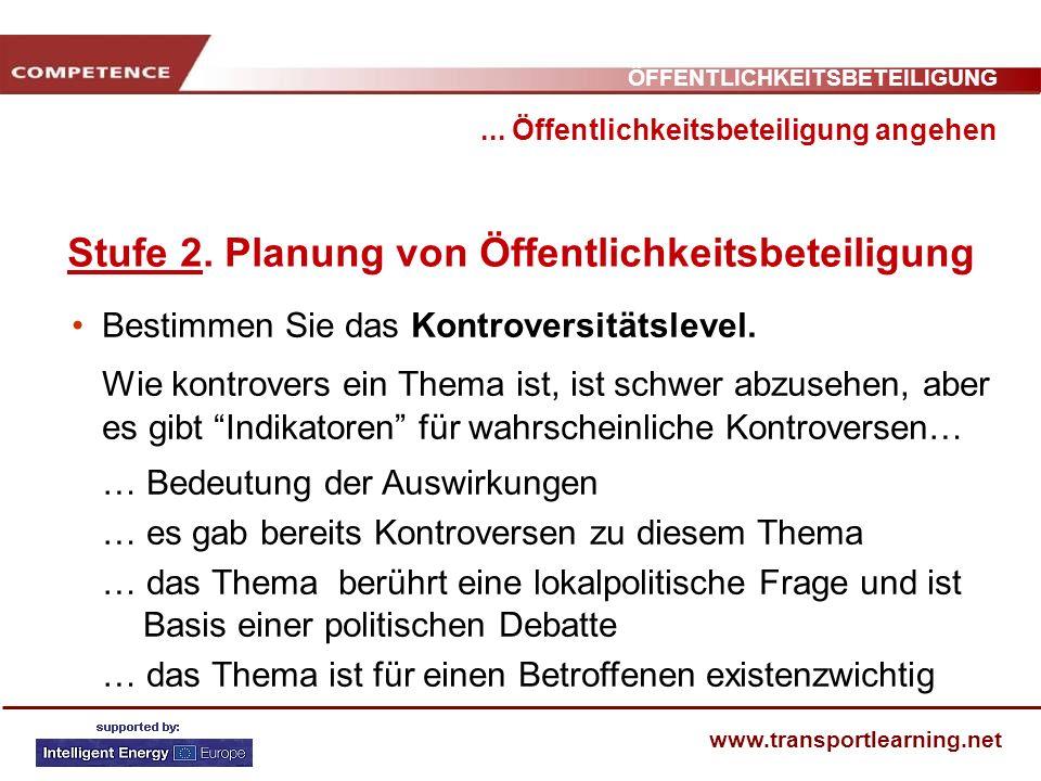 ÖFFENTLICHKEITSBETEILIGUNG www.transportlearning.net... Öffentlichkeitsbeteiligung angehen Stufe 2. Planung von Öffentlichkeitsbeteiligung Bestimmen S