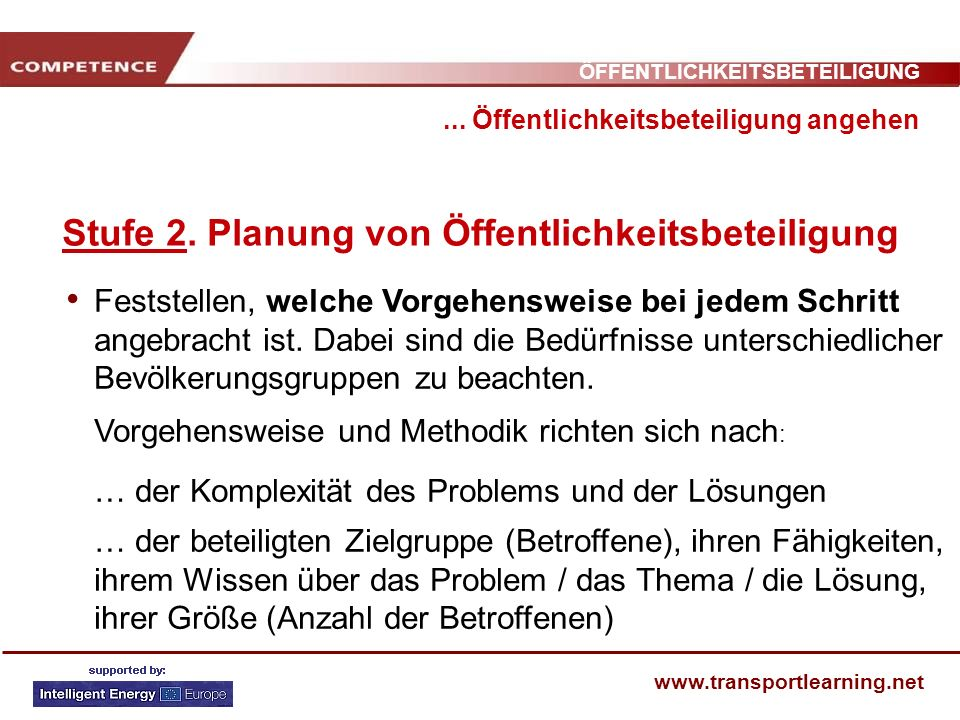 ÖFFENTLICHKEITSBETEILIGUNG www.transportlearning.net... Öffentlichkeitsbeteiligung angehen Stufe 2. Planung von Öffentlichkeitsbeteiligung Feststellen