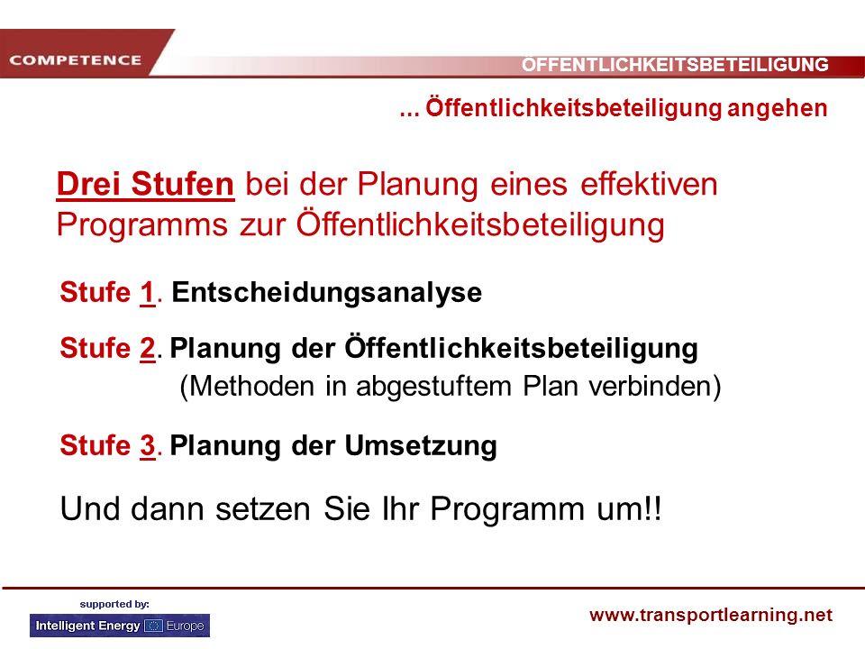 ÖFFENTLICHKEITSBETEILIGUNG www.transportlearning.net... Öffentlichkeitsbeteiligung angehen Drei Stufen bei der Planung eines effektiven Programms zur