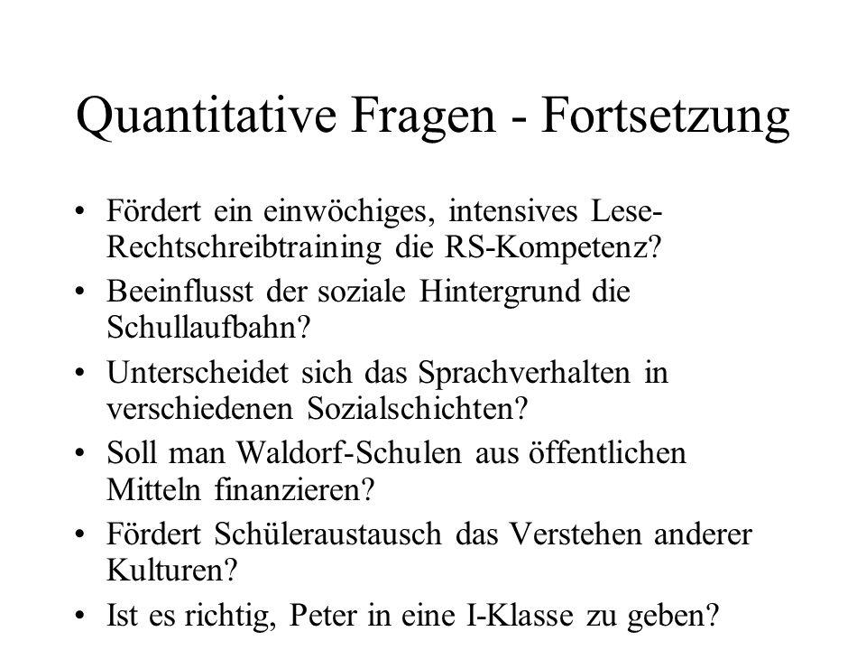 Quantitative Fragen - Fortsetzung Fördert ein einwöchiges, intensives Lese- Rechtschreibtraining die RS-Kompetenz? Beeinflusst der soziale Hintergrund
