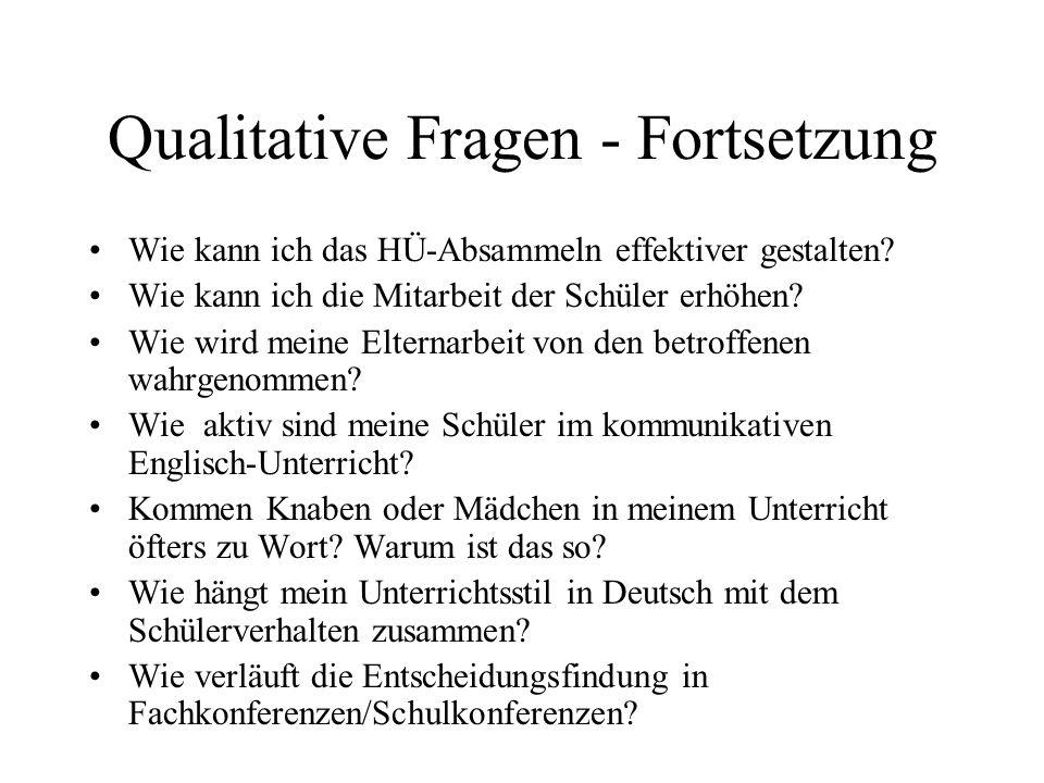 Qualitative Fragen - Fortsetzung Wie kann ich das HÜ-Absammeln effektiver gestalten? Wie kann ich die Mitarbeit der Schüler erhöhen? Wie wird meine El