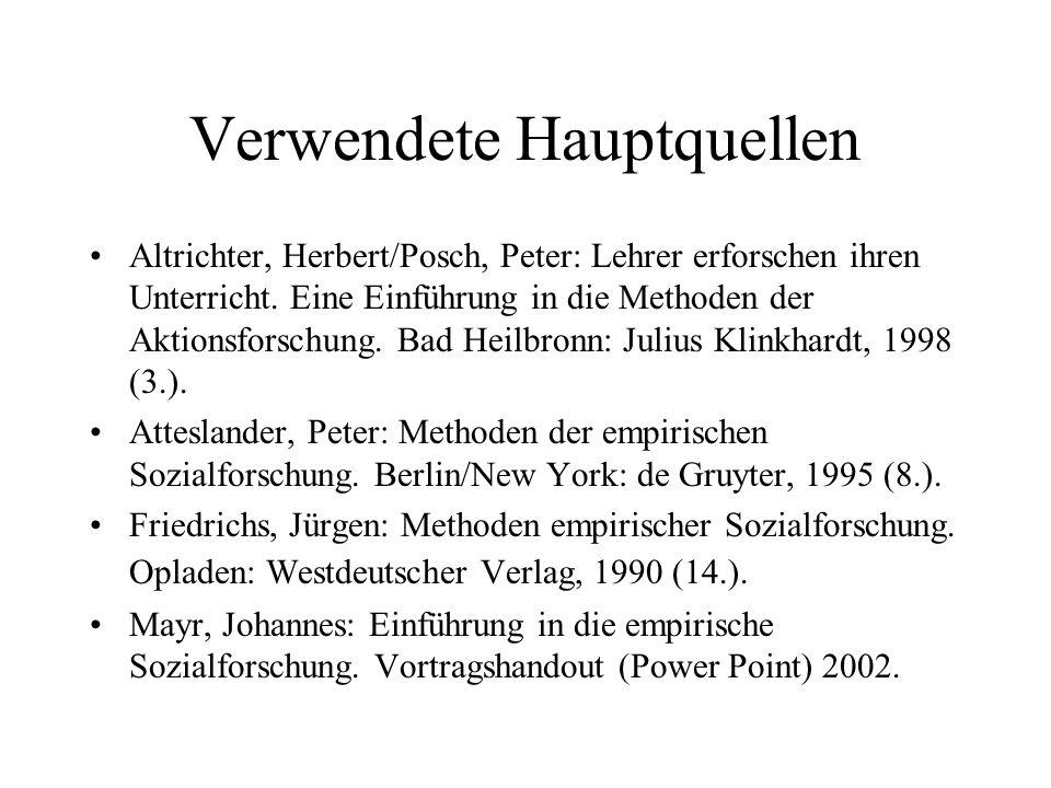 Verwendete Hauptquellen Altrichter, Herbert/Posch, Peter: Lehrer erforschen ihren Unterricht. Eine Einführung in die Methoden der Aktionsforschung. Ba