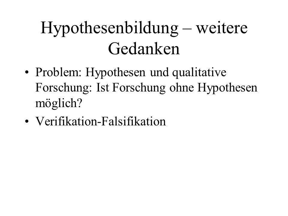 Hypothesenbildung – weitere Gedanken Problem: Hypothesen und qualitative Forschung: Ist Forschung ohne Hypothesen möglich? Verifikation-Falsifikation