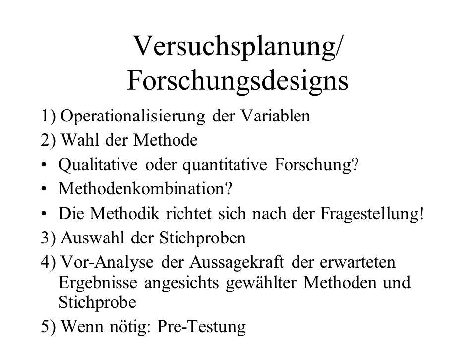 Versuchsplanung/ Forschungsdesigns 1) Operationalisierung der Variablen 2) Wahl der Methode Qualitative oder quantitative Forschung? Methodenkombinati