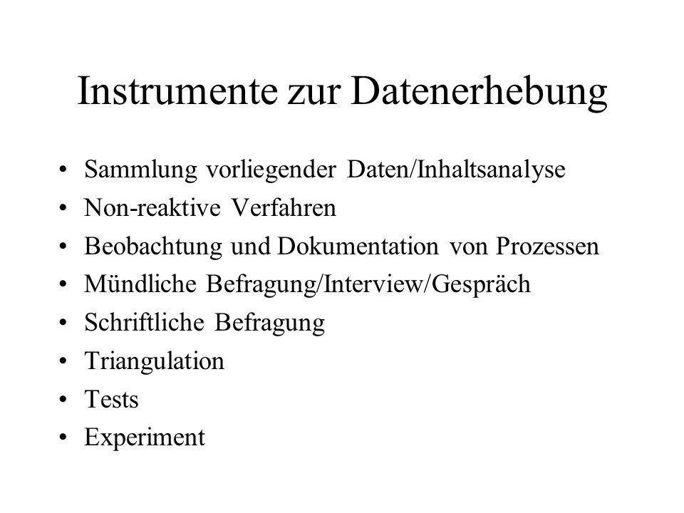 Instrumente zur Datenerhebung Sammlung vorliegender Daten/Inhaltsanalyse Non-reaktive Verfahren Beobachtung und Dokumentation von Prozessen Mündliche