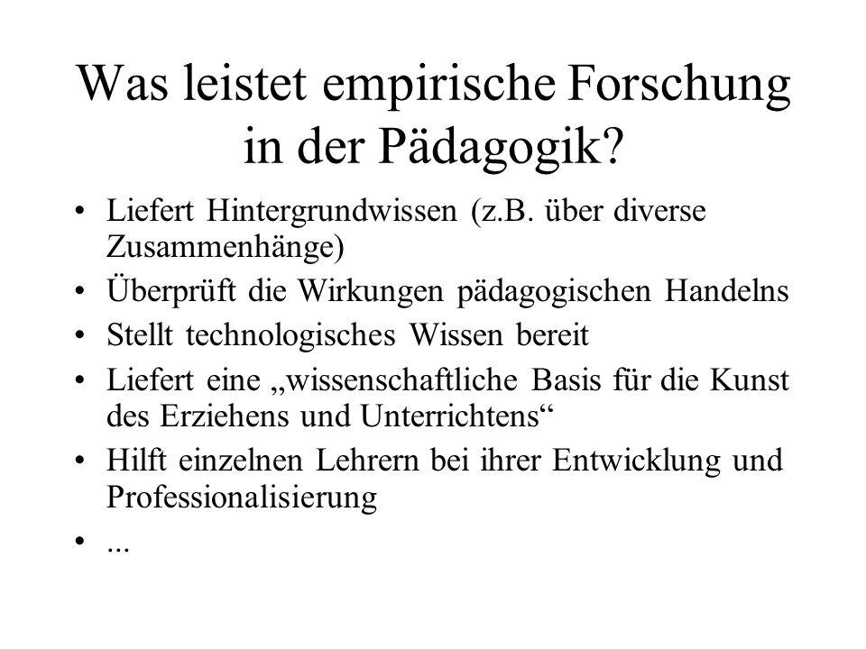 Was leistet empirische Forschung in der Pädagogik? Liefert Hintergrundwissen (z.B. über diverse Zusammenhänge) Überprüft die Wirkungen pädagogischen H