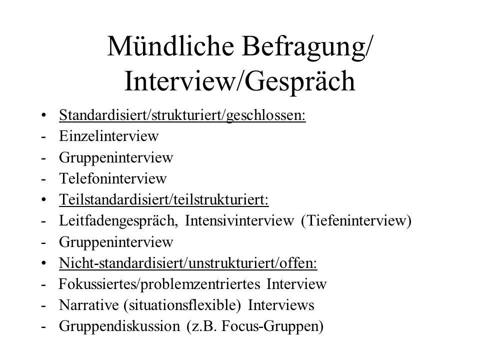 Mündliche Befragung/ Interview/Gespräch Standardisiert/strukturiert/geschlossen: -Einzelinterview -Gruppeninterview -Telefoninterview Teilstandardisie