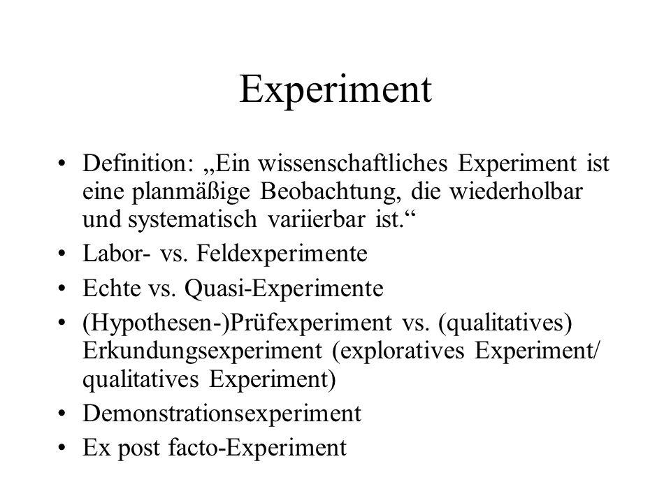 Experiment Definition: Ein wissenschaftliches Experiment ist eine planmäßige Beobachtung, die wiederholbar und systematisch variierbar ist. Labor- vs.
