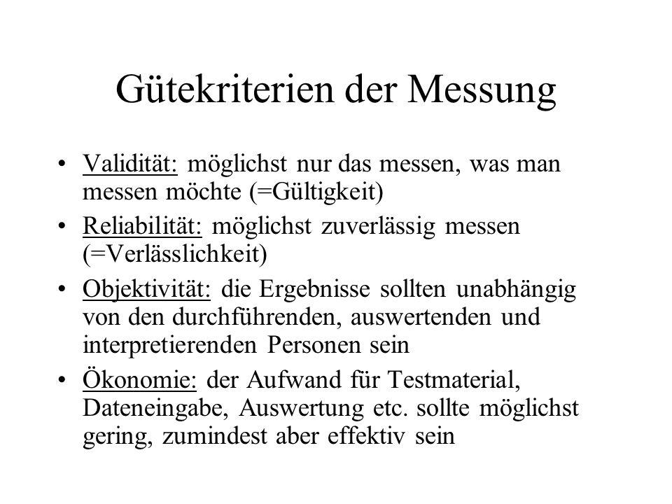 Gütekriterien der Messung Validität: möglichst nur das messen, was man messen möchte (=Gültigkeit) Reliabilität: möglichst zuverlässig messen (=Verläs