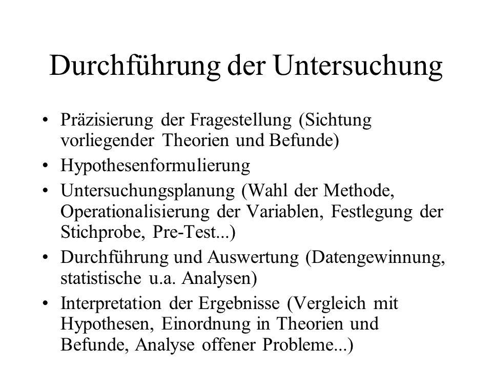 Durchführung der Untersuchung Präzisierung der Fragestellung (Sichtung vorliegender Theorien und Befunde) Hypothesenformulierung Untersuchungsplanung