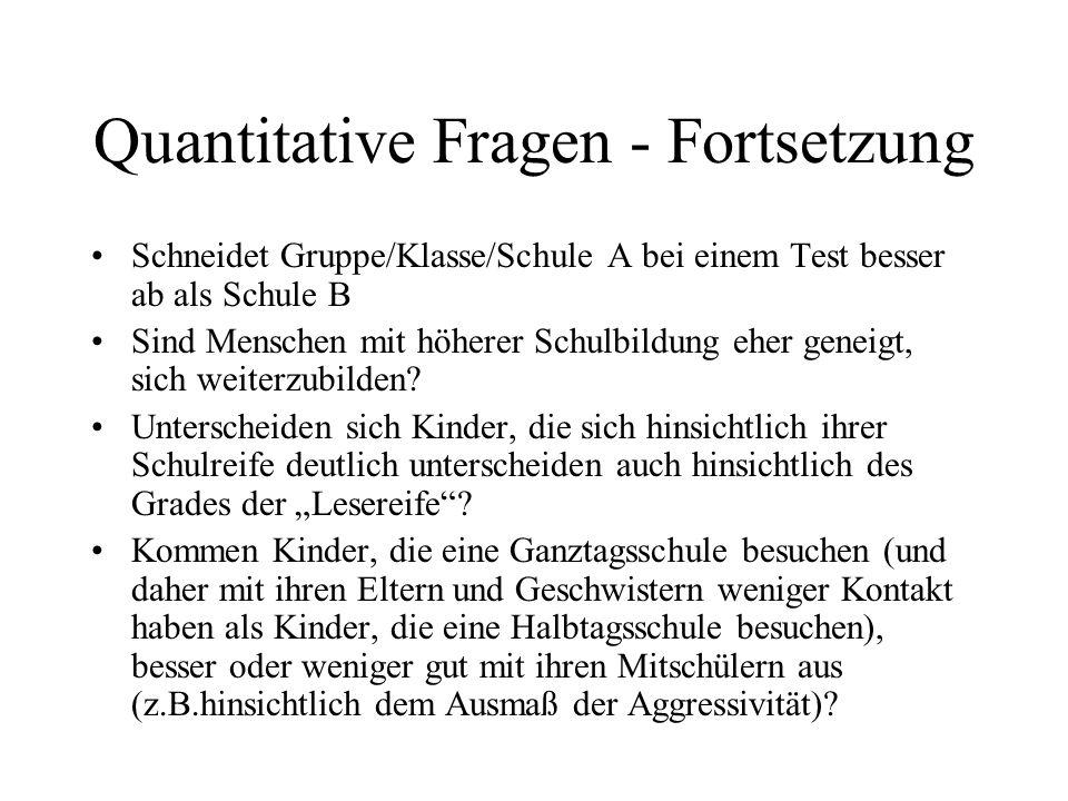 Quantitative Fragen - Fortsetzung Sind heterogene Gruppen förderlicher als homogene Gruppen.