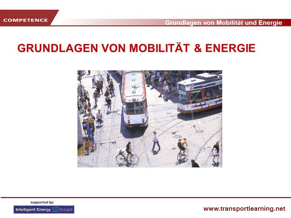 Grundlagen von Mobilität und Energie www.transportlearning.net ENTWICKLUNG nach VERKEHRSMITTELN Milliarden Passagier km 1970 - 2002 PKW Bus Bahn Luft Bim/Metro