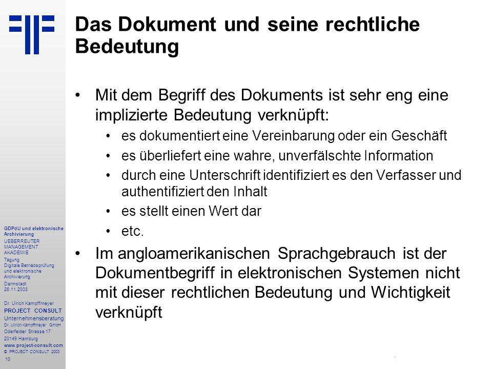 10 GDPdU und elektronische Archivierung UEBERREUTER MANAGEMENT AKADEMIE Tagung Digitale Betriebsprüfung und elektronische Archivierung Darmstadt 26.11
