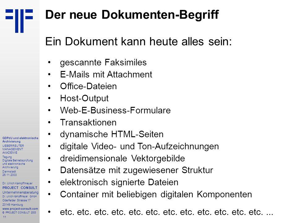 11 GDPdU und elektronische Archivierung UEBERREUTER MANAGEMENT AKADEMIE Tagung Digitale Betriebsprüfung und elektronische Archivierung Darmstadt 26.11
