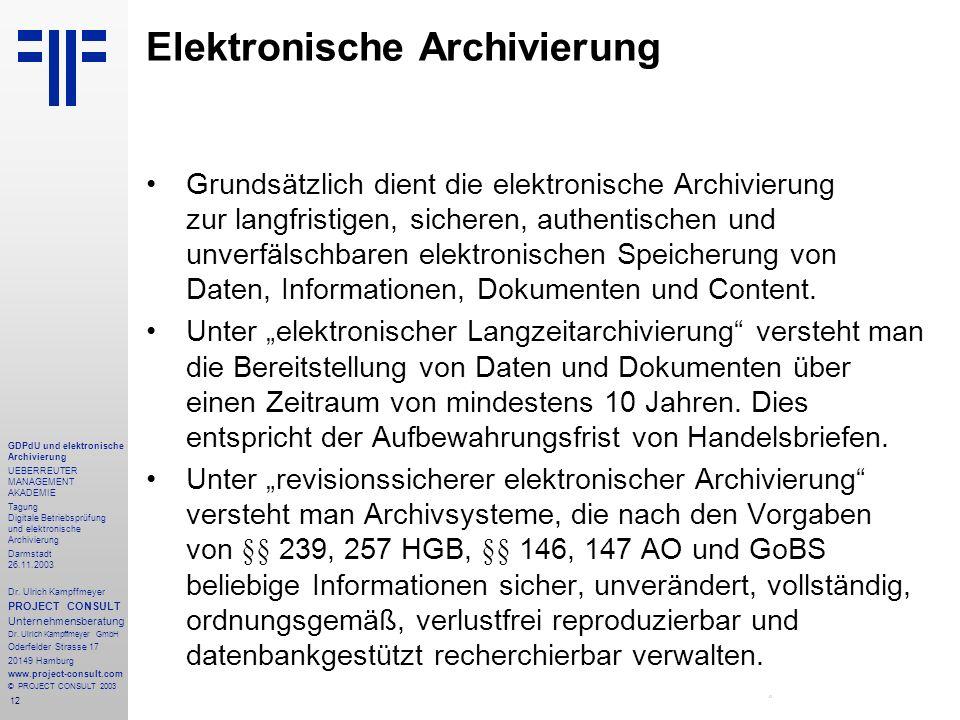 12 GDPdU und elektronische Archivierung UEBERREUTER MANAGEMENT AKADEMIE Tagung Digitale Betriebsprüfung und elektronische Archivierung Darmstadt 26.11