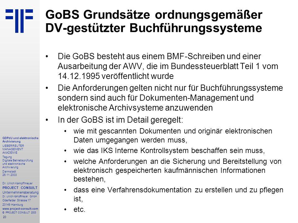20 GDPdU und elektronische Archivierung UEBERREUTER MANAGEMENT AKADEMIE Tagung Digitale Betriebsprüfung und elektronische Archivierung Darmstadt 26.11