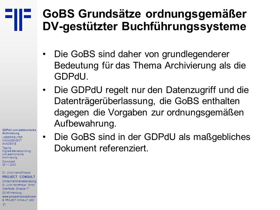 21 GDPdU und elektronische Archivierung UEBERREUTER MANAGEMENT AKADEMIE Tagung Digitale Betriebsprüfung und elektronische Archivierung Darmstadt 26.11