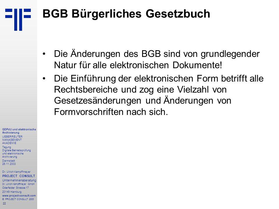 22 GDPdU und elektronische Archivierung UEBERREUTER MANAGEMENT AKADEMIE Tagung Digitale Betriebsprüfung und elektronische Archivierung Darmstadt 26.11