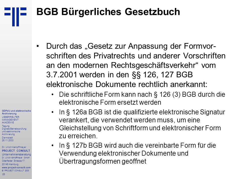 23 GDPdU und elektronische Archivierung UEBERREUTER MANAGEMENT AKADEMIE Tagung Digitale Betriebsprüfung und elektronische Archivierung Darmstadt 26.11