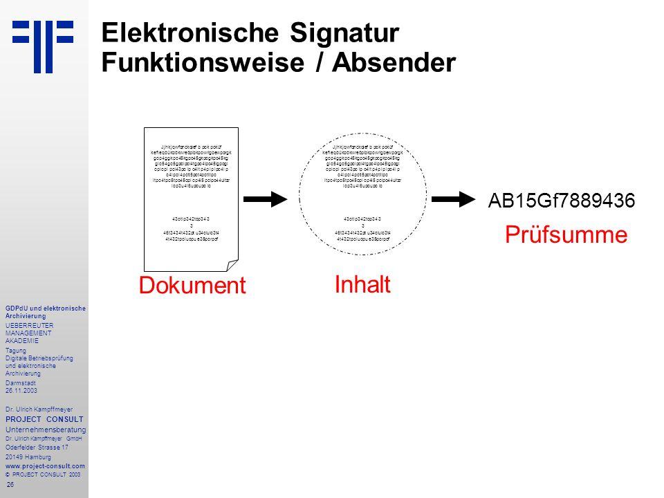 26 GDPdU und elektronische Archivierung UEBERREUTER MANAGEMENT AKADEMIE Tagung Digitale Betriebsprüfung und elektronische Archivierung Darmstadt 26.11