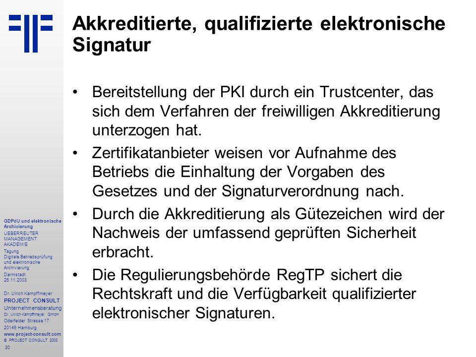 30 GDPdU und elektronische Archivierung UEBERREUTER MANAGEMENT AKADEMIE Tagung Digitale Betriebsprüfung und elektronische Archivierung Darmstadt 26.11