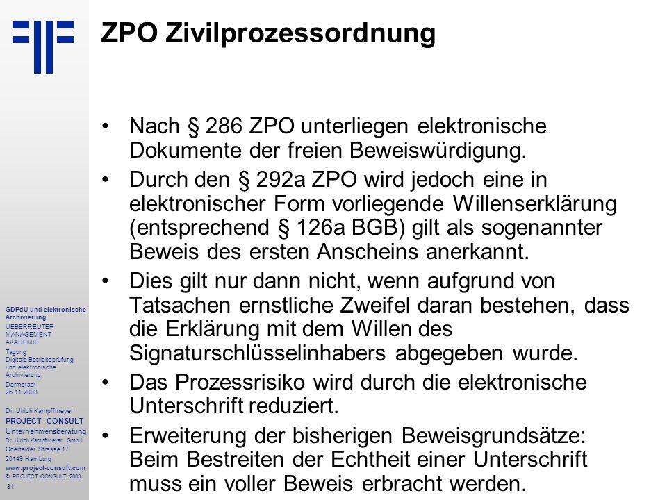 31 GDPdU und elektronische Archivierung UEBERREUTER MANAGEMENT AKADEMIE Tagung Digitale Betriebsprüfung und elektronische Archivierung Darmstadt 26.11
